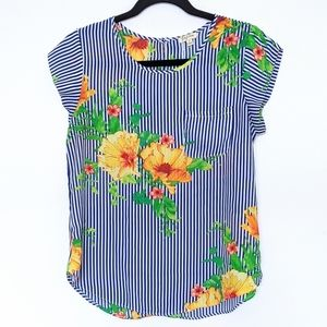3/$20 Lily White Cap Sleeve Floral Striped Top ☮️